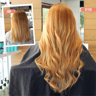 Påsætning af hair extensions - rødblond