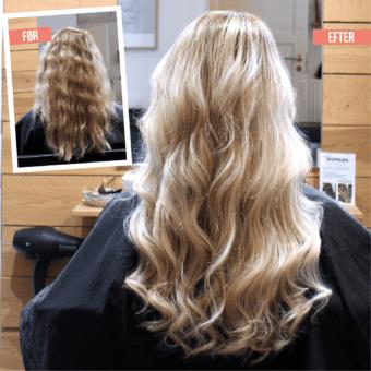 Påsætning af hair extensions - blond