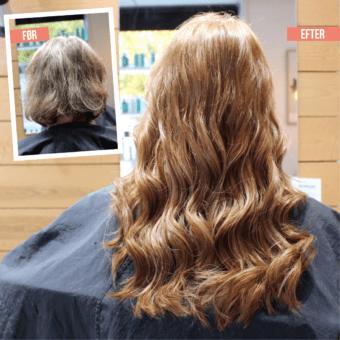 Påsætning af hair extensions - mørk